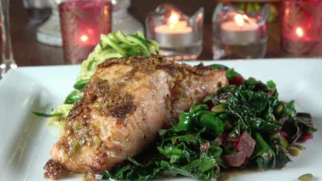 Grilled Wild Salmon Filet with Collard Greens and Zoodle video