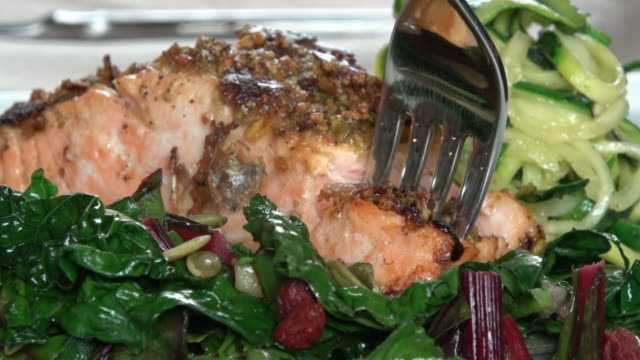 grilled wild salmon filet with collard greens and zoodle - seafood stock videos and b-roll footage