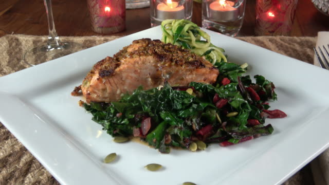 Grilled Wild Salmon Filet with Collard Greens and Zoodle (zucchine Noodle) video