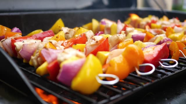Grilling Kebabs on the grill with barbecue sauce video