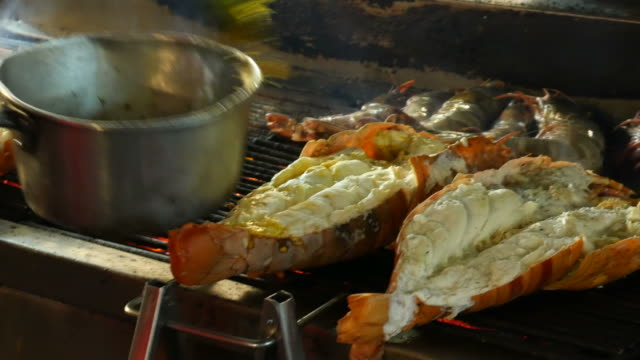 grilling lobsters - thai food stock videos and b-roll footage