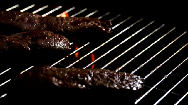 SLO MO Grilling Meat video