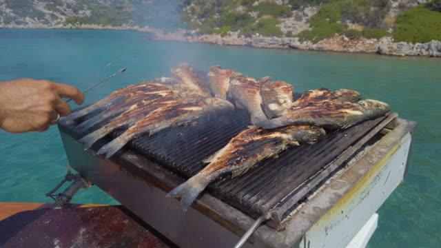 гриль сибас рыба на палубе лодки во время голубого путешествия в турции - морской окунь стоковые видео и кадры b-roll