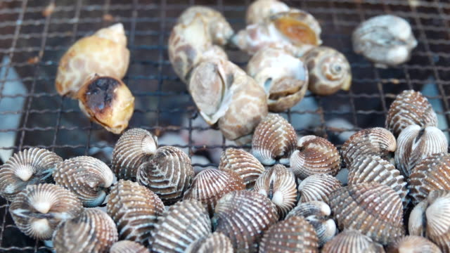 4K : Grilling Seafood Video Grilling Seafood  in camping. 4K(UHD) 3840x2160 format. small business saturday stock videos & royalty-free footage