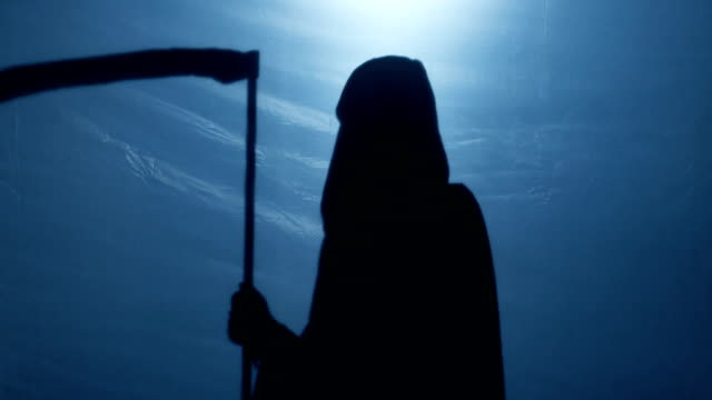 Grim Reaper with scythe turning back, walking away to give victim second chance video