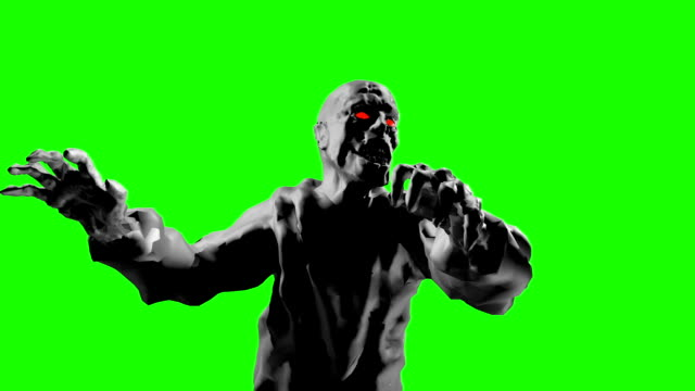 Grim zombie attack with open arms. 3D looped animation. video