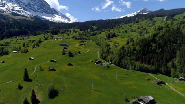 grindelwald west fliegen - antenne 4k - kanton bern stock-videos und b-roll-filmmaterial