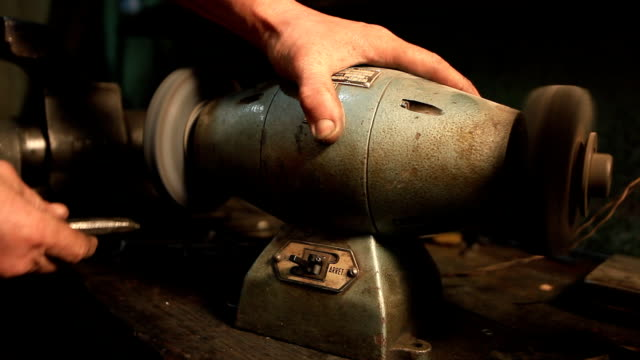 Grinding a Broach Grinder Sparks HD foundry stock videos & royalty-free footage