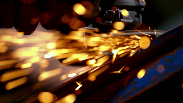 SLO MO Grinding a piece of steel video