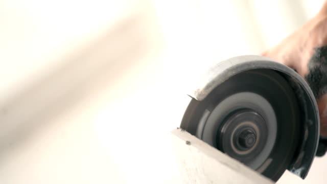 Grinding drywall plate. video