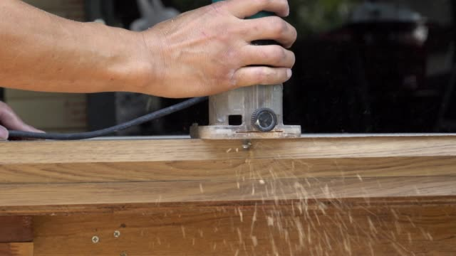 Grinding wood in a Job Thailand, Adult, Art And Craft, Bench, Black Background power tool stock videos & royalty-free footage