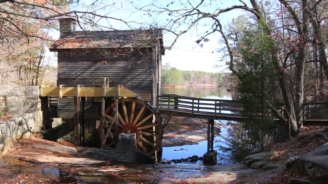 grist mill in stone mountain park, usa - landmarks stock videos and b-roll footage