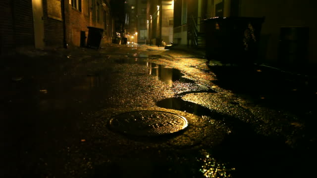 Gritty Urban Street Dark gritty urban street in Boston, Massachusetts alley stock videos & royalty-free footage