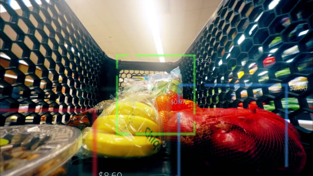 Grocery Food Shopping Time Lapse Smart Scanner Shop Cart Supermarket 4K Scanning vegetables and fruits displaying prices with futuristic data. consumerism stock videos & royalty-free footage