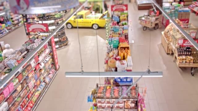 matinköp, timelapse - dagligvaruhandel, hylla, bakgrund, blurred bildbanksvideor och videomaterial från bakom kulisserna