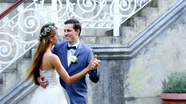 Groom and bride dancing 4K 4k video