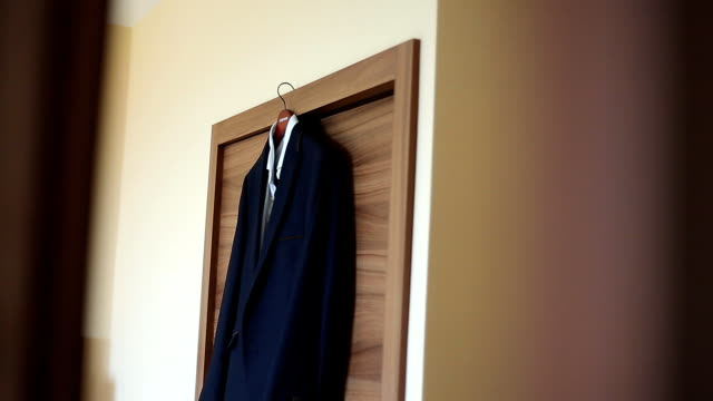 Groom's suit hanging
