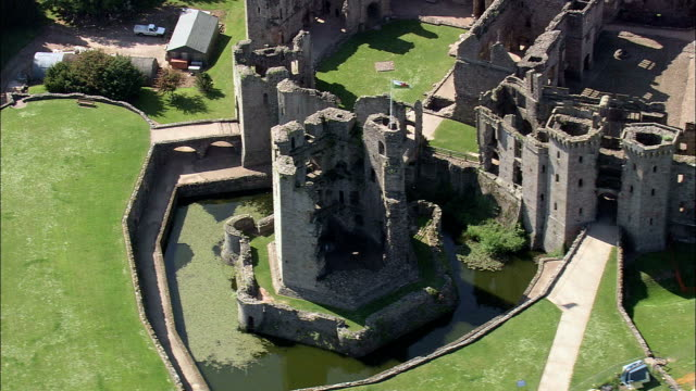 Grosmont Castle  - Aerial View - Wales,  Monmouthshire,  Grosmont helicopter filming,  aerial video,  cineflex,  establishing shot,  United Kingdom