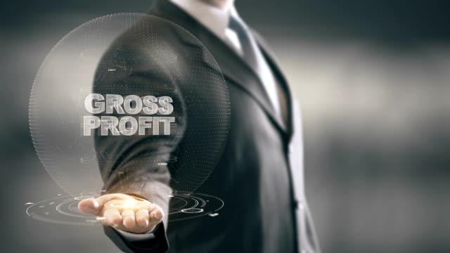 Gross Profit with hologram businessman concept