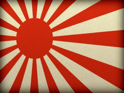 NTSC Grounge background with japanese war flag NTSC Grounge background with japanese war flag rotating seamless. royalty stock videos & royalty-free footage