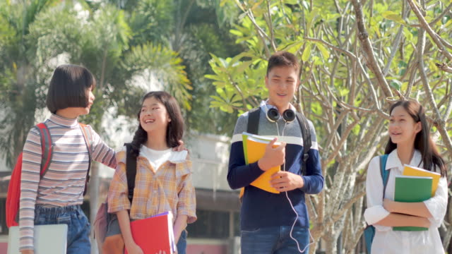 Group asian teenager going to school together active and happy.Education,Back to school,People,Lifestyle,Friendship concept. video