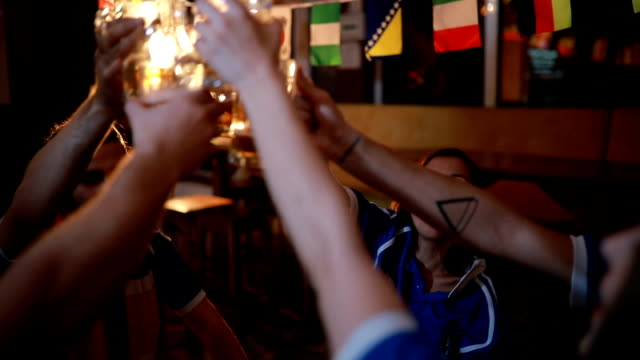 group beer toast - trykot filmów i materiałów b-roll