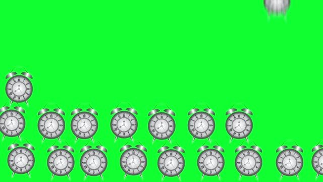 Group of animated cartoon vintage old style clocks, green screen chroma key background video