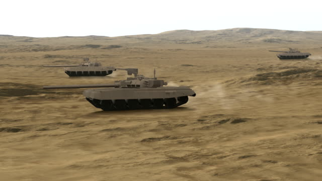Group Of Armored Heavy Tanks In Battlefield video