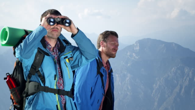Group of backpacker with binoculars video