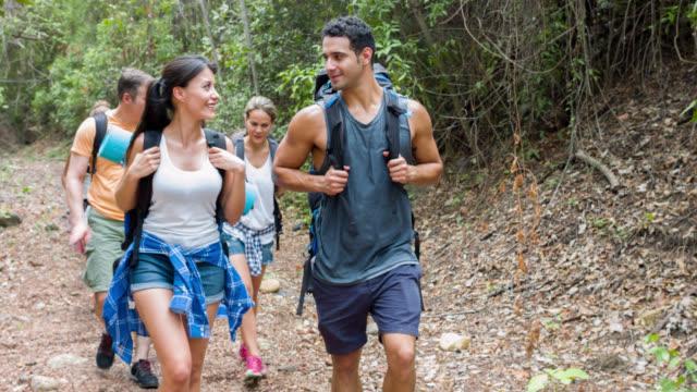 group of backpackers hiking - ekoturystyka filmów i materiałów b-roll