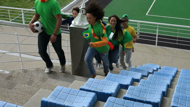 Group of Brazilian fans looking for their seats with excitement video