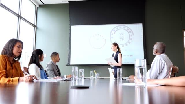vídeos y material grabado en eventos de stock de grupo de colegas de negocios asisten a una reunión de la junta - faq