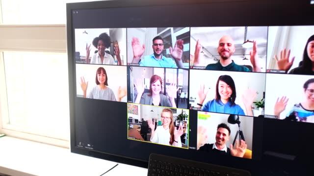 group of business people having online meeting - odosobniony filmów i materiałów b-roll