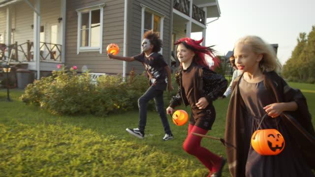 group of children having fun on halloween - four seasons filmów i materiałów b-roll