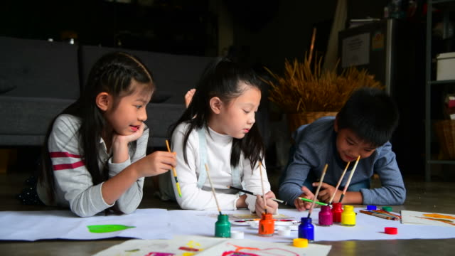 Video Group of Children painting and drawing on paper