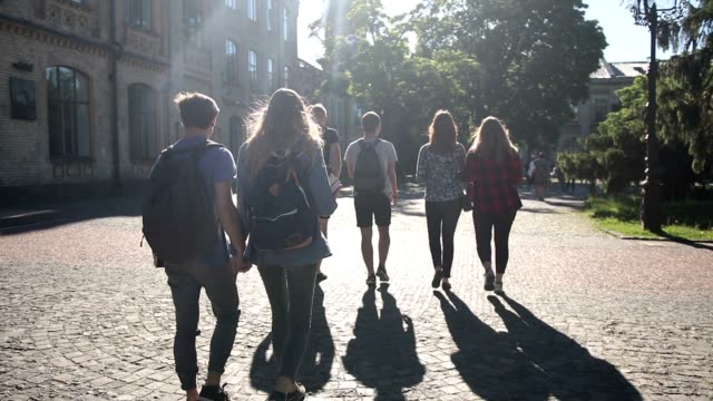 group of college students walking outdoors - student life stock videos & royalty-free footage
