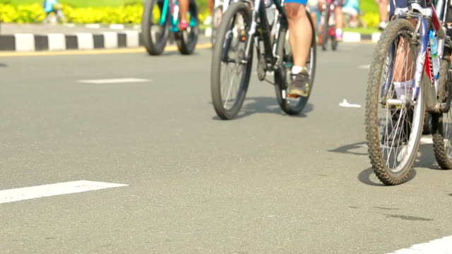 Group of cyclists On street for bike campaign video