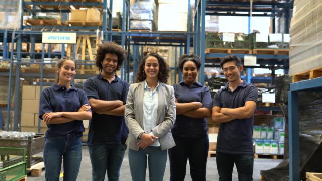 Group of distribution warehouse staff