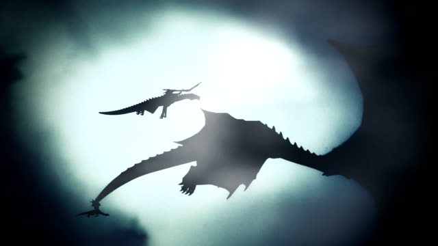 Group of Dragons Flying in a Winter Sky Against the Wind video