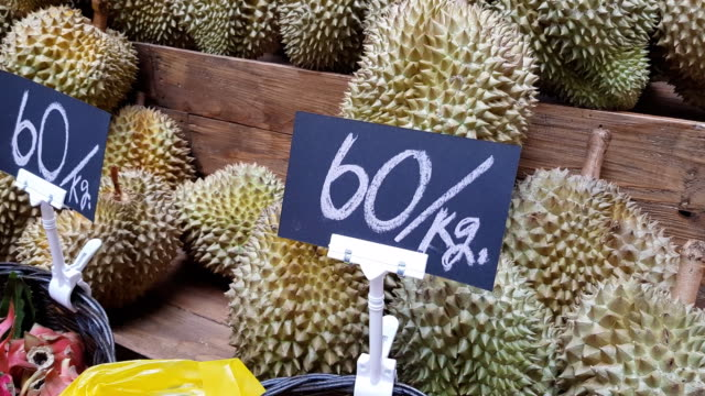 Group of durian in the market. Thailand video