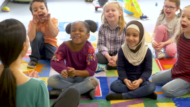 Video Group of ethnic kids in daycare