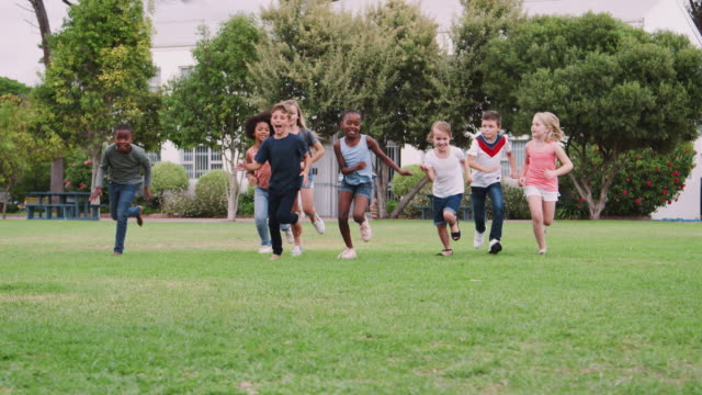 Group Of Excited Children Playing With Friends And Running Across Grass Playing Field video