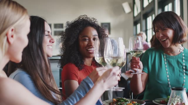 Group Of Female Friends Making A Toast At Meal In Restaurant Group of female friends meeting for lunch on restaurant making a toast together - shot in slow motion celebratory toast stock videos & royalty-free footage
