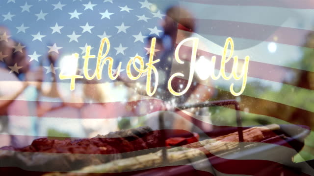 vídeos y material grabado en eventos de stock de grupo de amigos celebrando y una bandera americana con un texto del 4 de julio - happy 4th of july