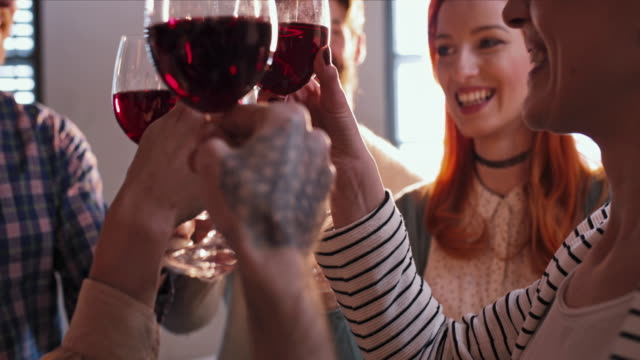 Group of friends celebrating and toasting with wineglasses. Slow motion. Slow motion of happy people toasting and drinking rd wine. red wine stock videos & royalty-free footage