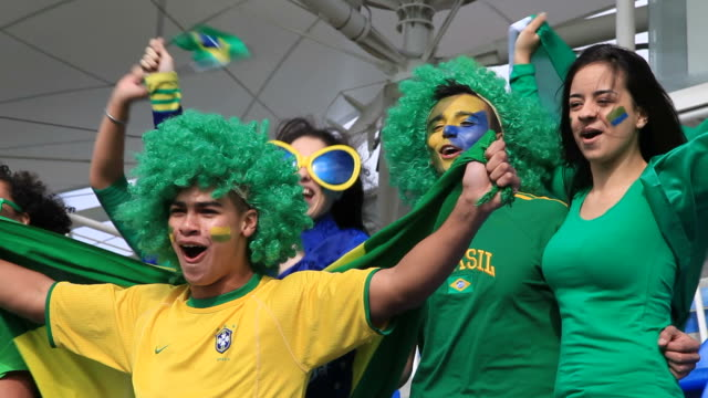 Group of friends cheering for Brazil video