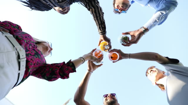 Group of friends enjoying a drink together and toasing to celebrate Group of friends enjoying a drink together and toasing to celebrate aperitif stock videos & royalty-free footage