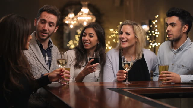 Group Of Friends Enjoying Evening Drinks In Bar video