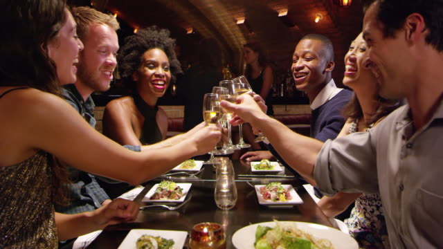 Group Of Friends Enjoying Meal In Restaurant Shot On R3D