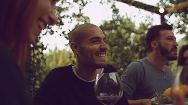 ディナー パーティーで一緒に楽しんでいるお友達のグループ - 食事する点の映像素材/bロール